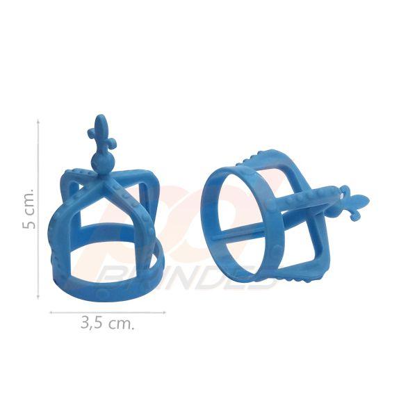 Mini Coroa p/ Tampa de garrafas e tubetes Azul - Kit 100 peças