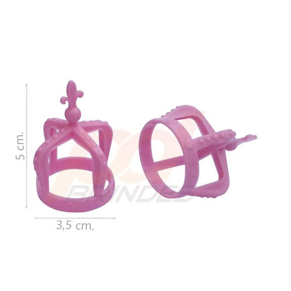 Mini Coroa p/ Tampa de garrafas e tubetes Rosa - Kit 25 Unidades