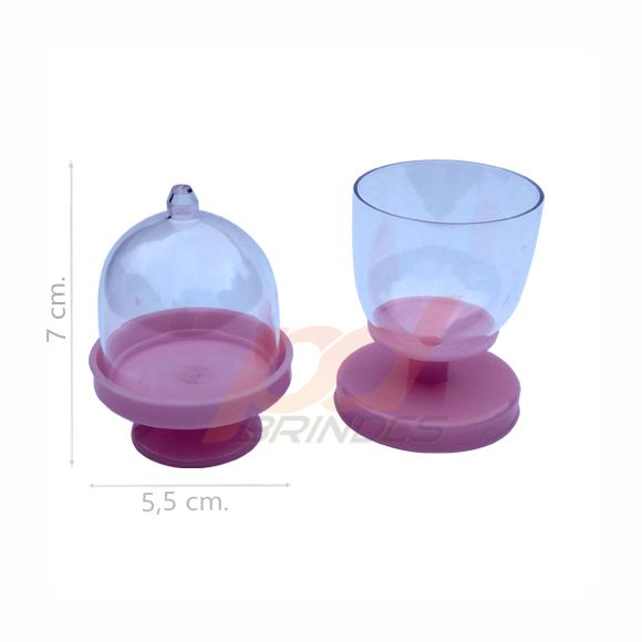 Mini Cúpula e Taça 2 em 1 Rosa - Kit 100 peças