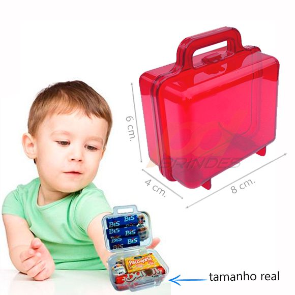 Mini Maletinha acrílica Vermelha - Kit 050 peças