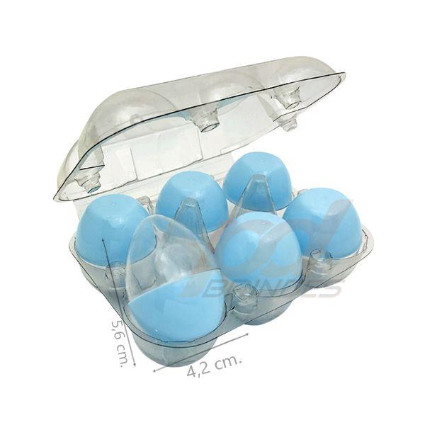 Ovinhos de Acrílico Azul - para lembrancinhas - 1 Bandeja (6 Unidades)
