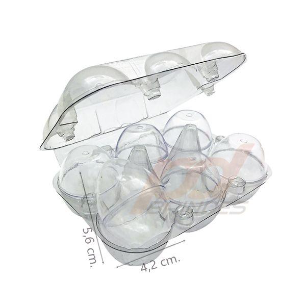 Ovinhos de Acrílico cristal - para lembrancinhas - 20 Bandejas (120 Unidades)