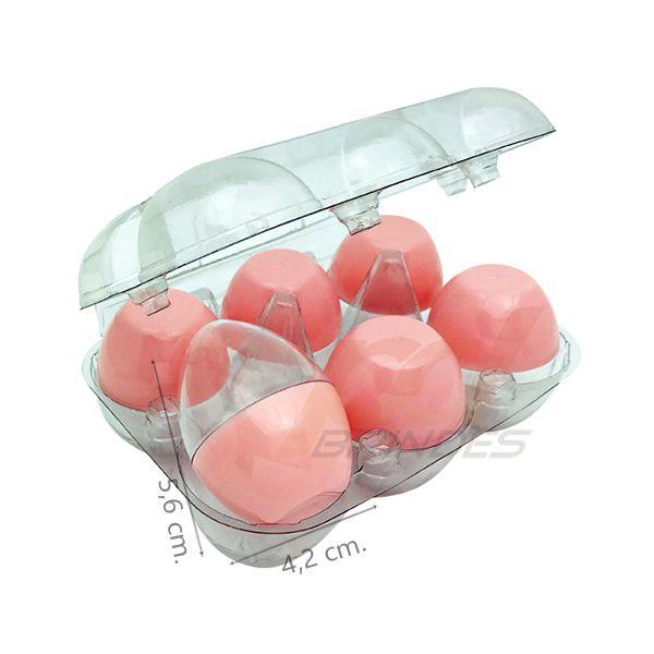 Ovinhos de Acrílico Rosa - para lembrancinhas - 5 Bandejas (30 Unidades)