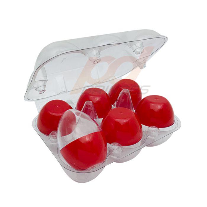 Ovinhos de Acrílico Vermelho - para lembrancinhas - 1 Bandeja (6 Unidades)