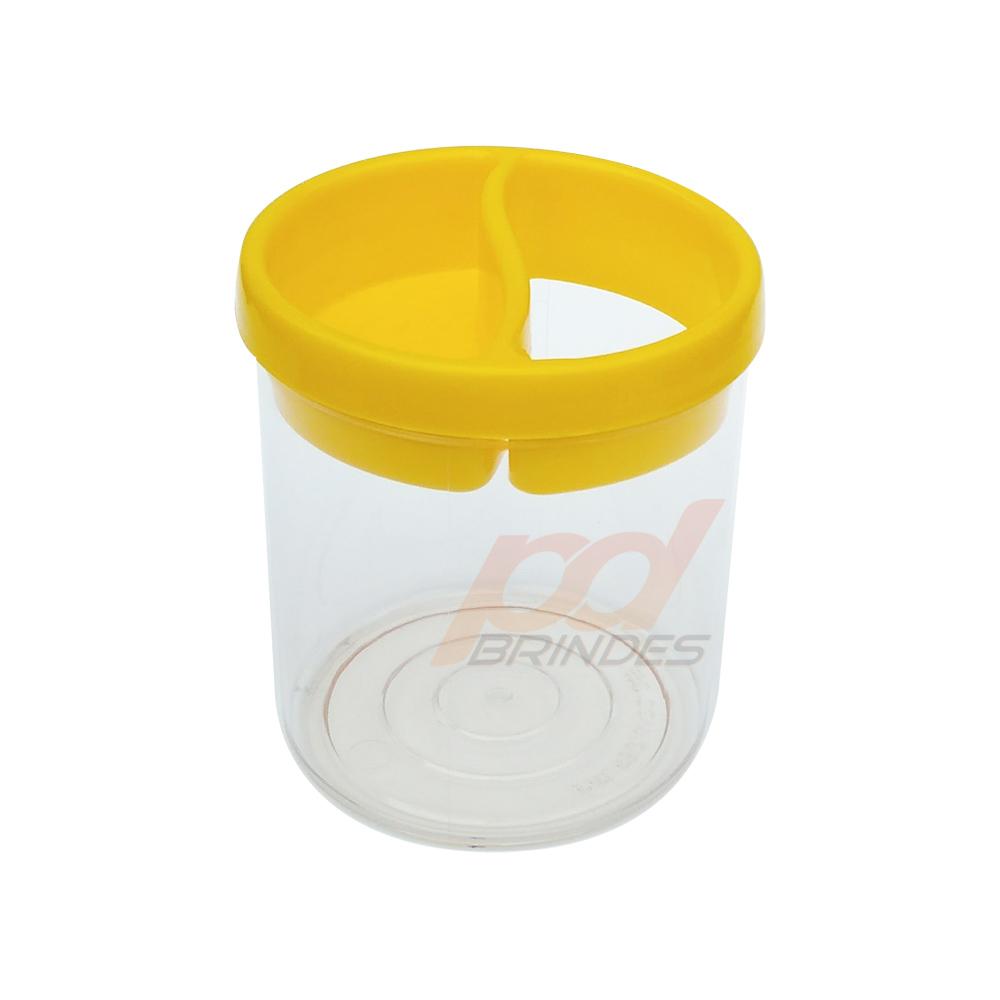 Porta Lápis de Acrílico Amarelo - Kit 050 peças