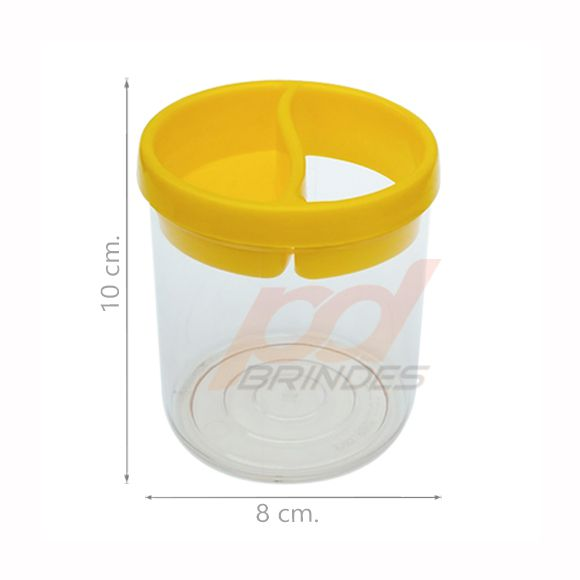 Porta Lápis de Acrílico Amarelo - Kit 100 peças