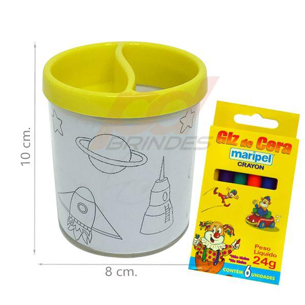 Porta Lapis para colorir amarelo - Com giz de cera - Kit 010 peças