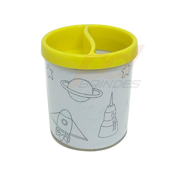Porta Lapis para colorir Amarelo - Kit 010 peças