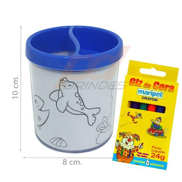 Porta Lapis para colorir azul - Com giz de cera - Kit 010 peças