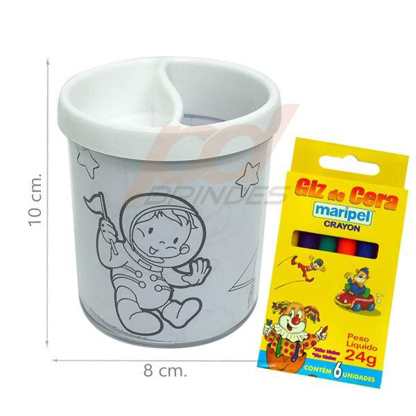 Porta Lapis para colorir branco - Com giz de cera - Kit 100 peças