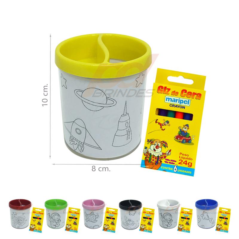 Porta Lápis Para Colorir com Giz de Cera - 10 Unidades