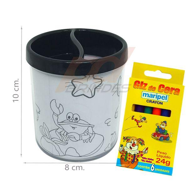 Porta Lapis para colorir preto - Com giz de cera - Kit 050 peças