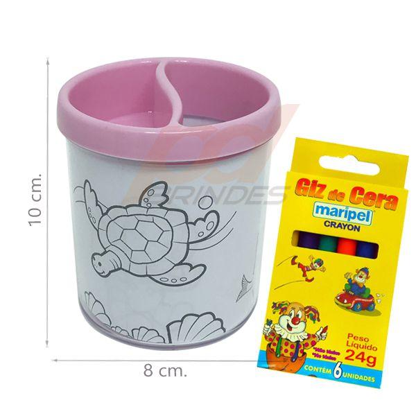 Porta Lapis para colorir rosa - Com giz de cera - Kit 010 peças