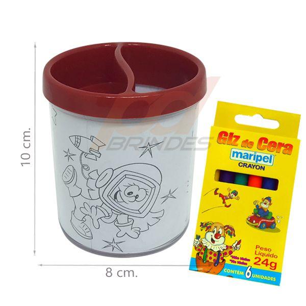 Porta Lapis para colorir vermelho - Com giz de cera - Kit 010 peças
