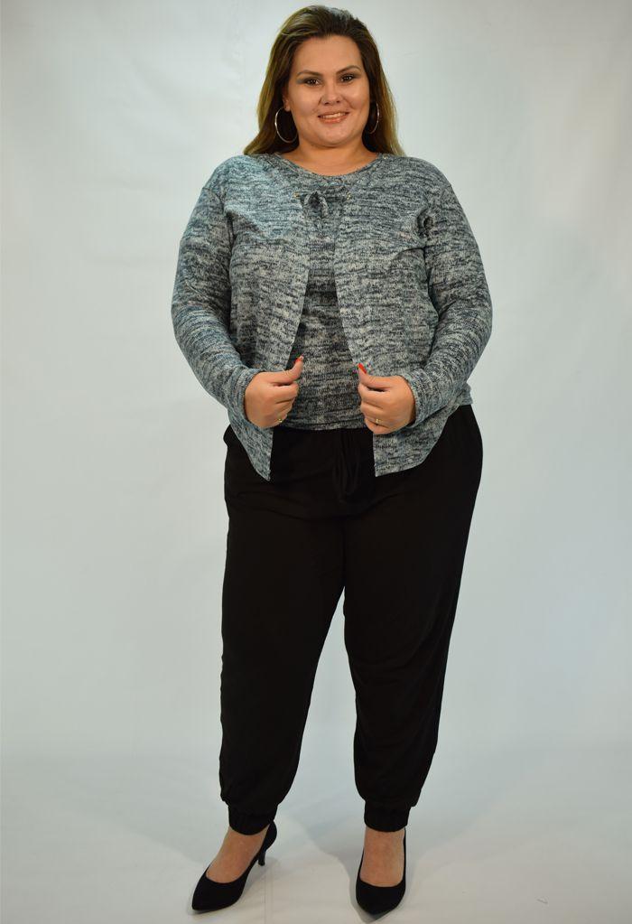 Twin set - Blusa com manga curta + casaquinho tricot