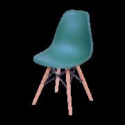 Cadeira Eames Dkr Polipropileno Base Madeira Azul Petroleo