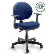 Cadeira Giratória Ergonômica Executiva Operativa Couro Ecológico - Azul/Preto