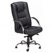 Cadeira Presidente Base Sincron Cromada com Rodízios em PU