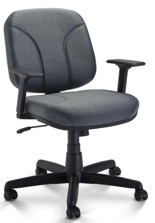 Cadeira Diretor Operativa Com Lâmina e Braço, Revestimento CINZA/PRETO