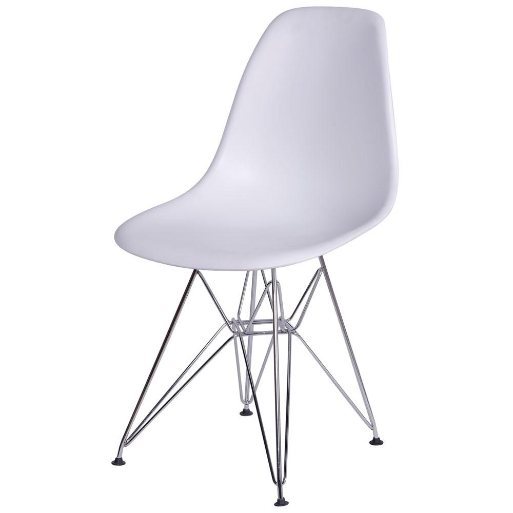 Cadeira Eames Dkr Polipropileno Base Cromada Branca