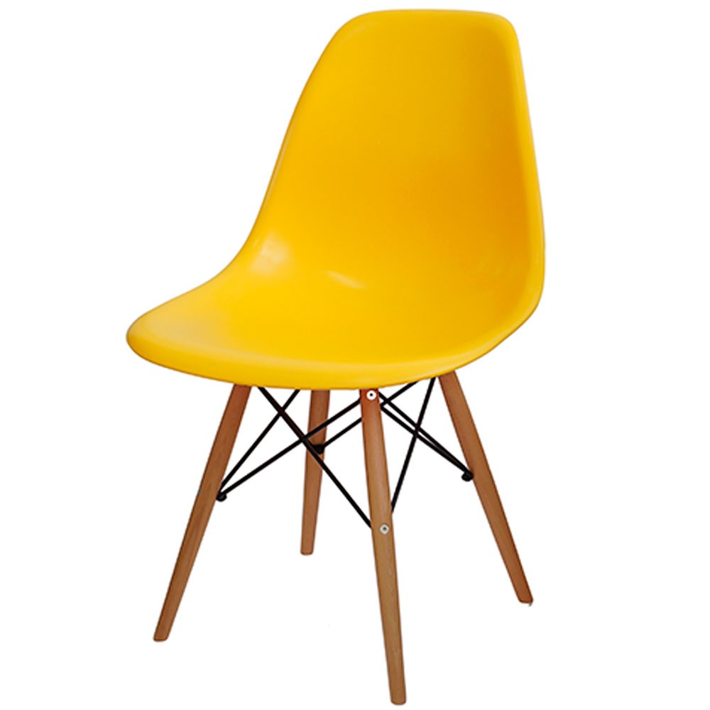 Cadeira Eames Dkr Polipropileno Base Madeira Amarela