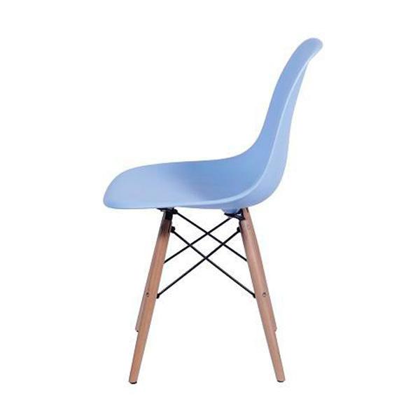 Cadeira Eames Dkr Polipropileno Base Madeira Azul Claro
