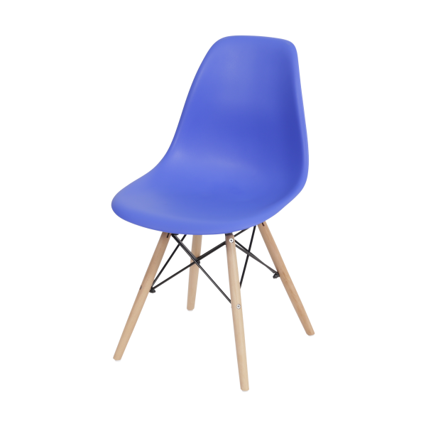 Cadeira Eames Dkr Polipropileno Base Madeira Azul Escuro