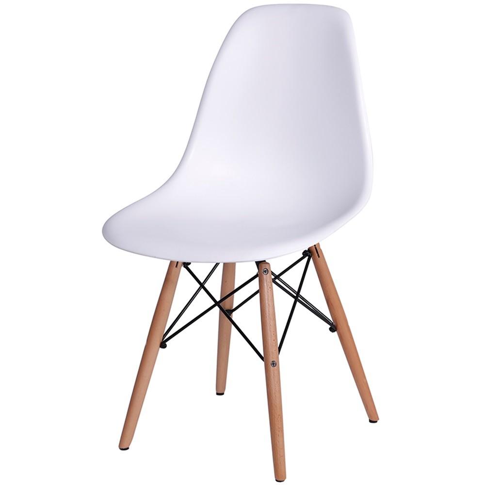 Cadeira Eames Dkr Polipropileno Base Madeira Branca