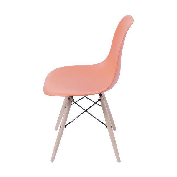 Cadeira Eames Dkr Polipropileno Base Madeira Laranja
