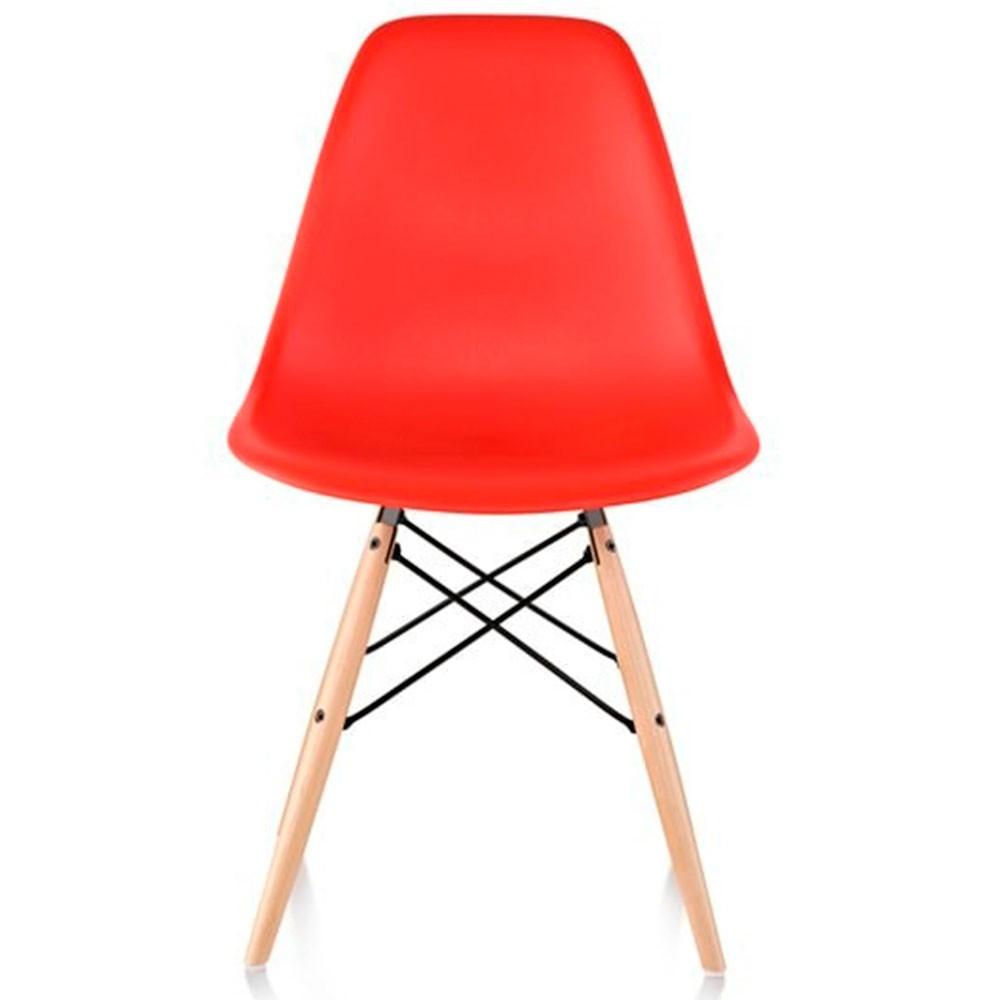 Cadeira Eames Dkr Polipropileno Base Madeira Vermelha
