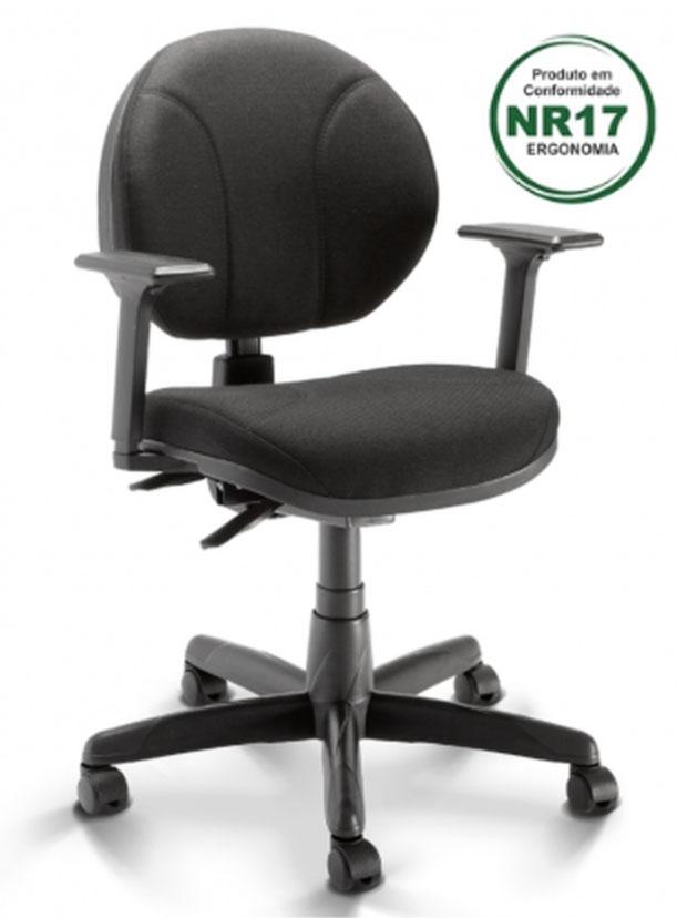 Cadeira Executiva Operativa Com Back System, Braço Revestimento PRETO