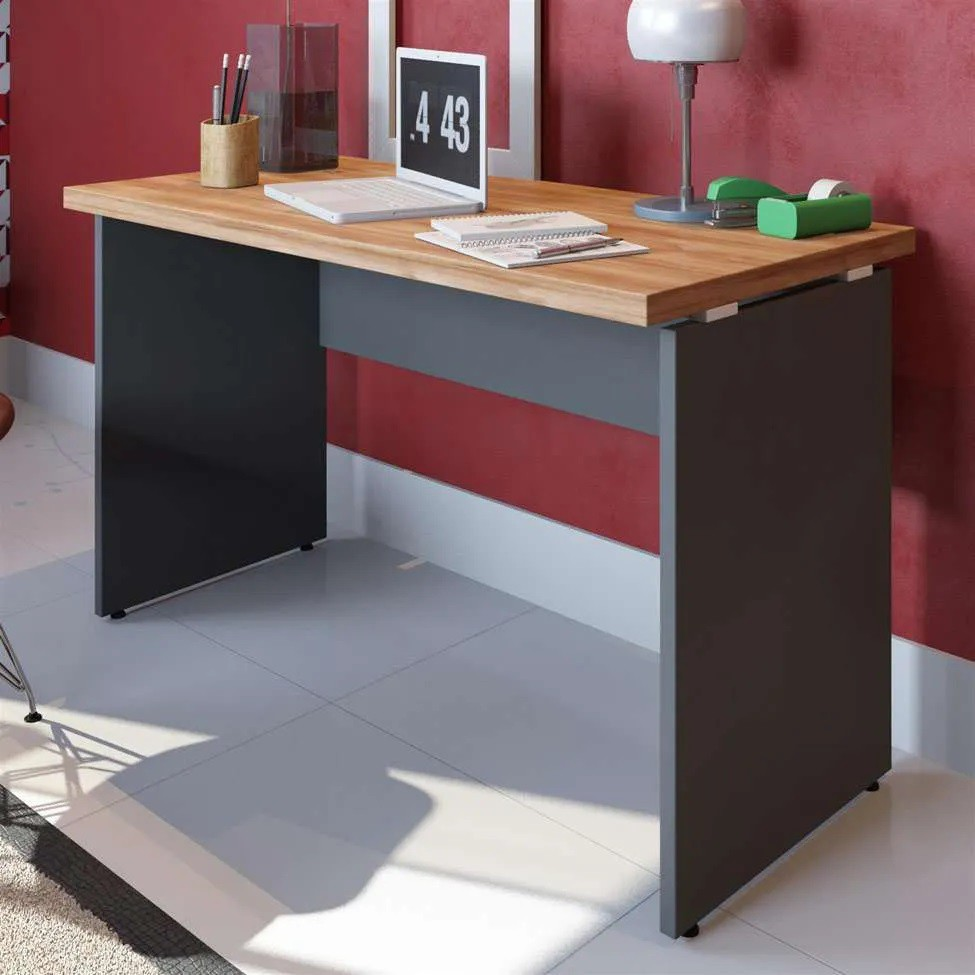 Mesa Reta para Escritório 150x60 Pe Painel Tampo 30mm - Calvi/Preto
