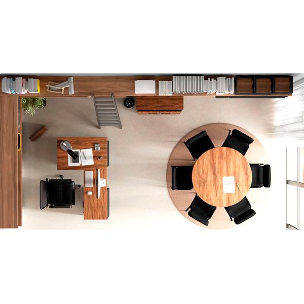 Mesa Reunião Redonda para Escritorio Pe Painel 110x110 Tampo 30mm - Calvi/Preto