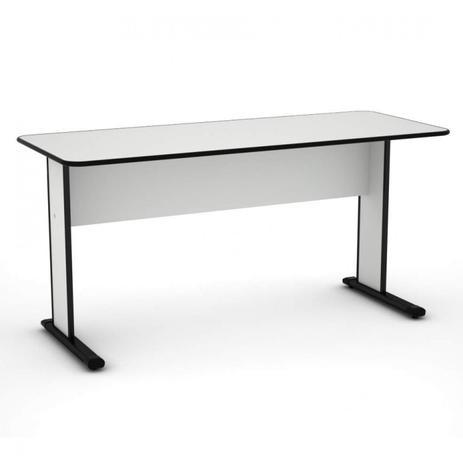 Mesa para Escritório Tampo 15mm 120X060 Pés Simples -Cinza/Preto