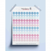 Adesivo bolinhas coloridas- azul/rosa