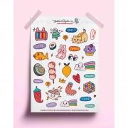Adesivo doodles coloridos