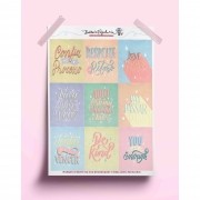 Adesivo frases lettering tons pastel - A5
