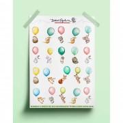 Adesivos animais watercolors