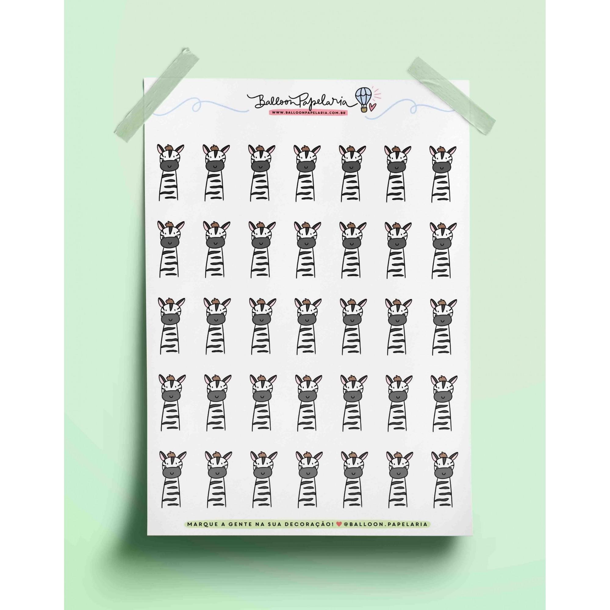 Adesivo bichinhos fofos - zebra