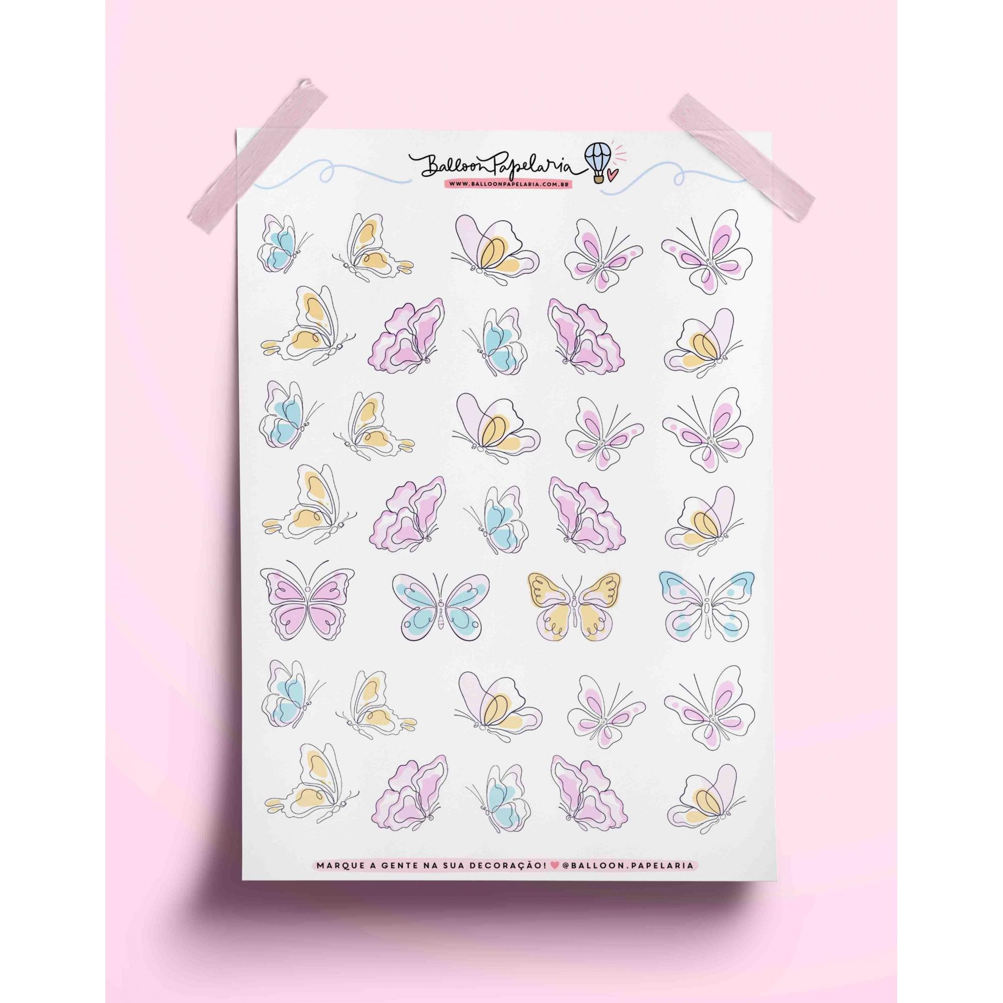 Adesivo borboletas aquarela