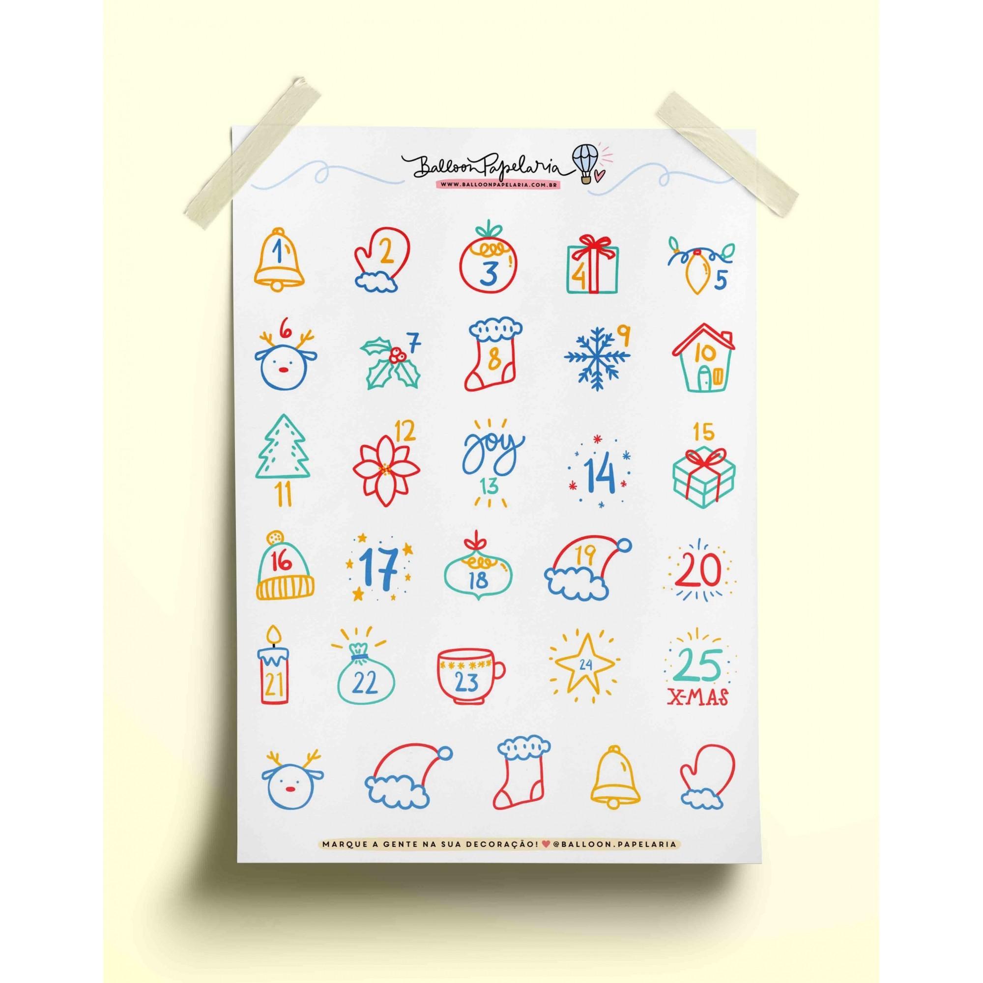 Adesivo calendário natalino 02
