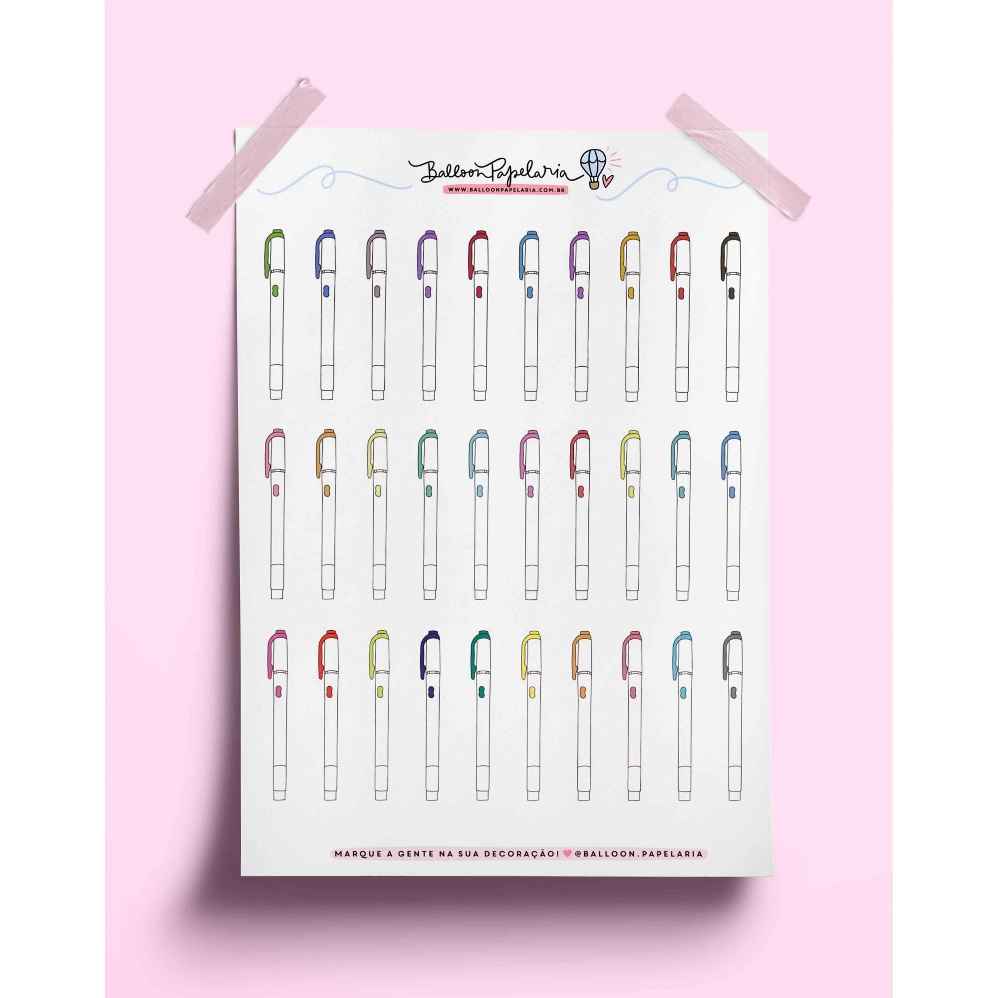 Adesivo canetas coloridas