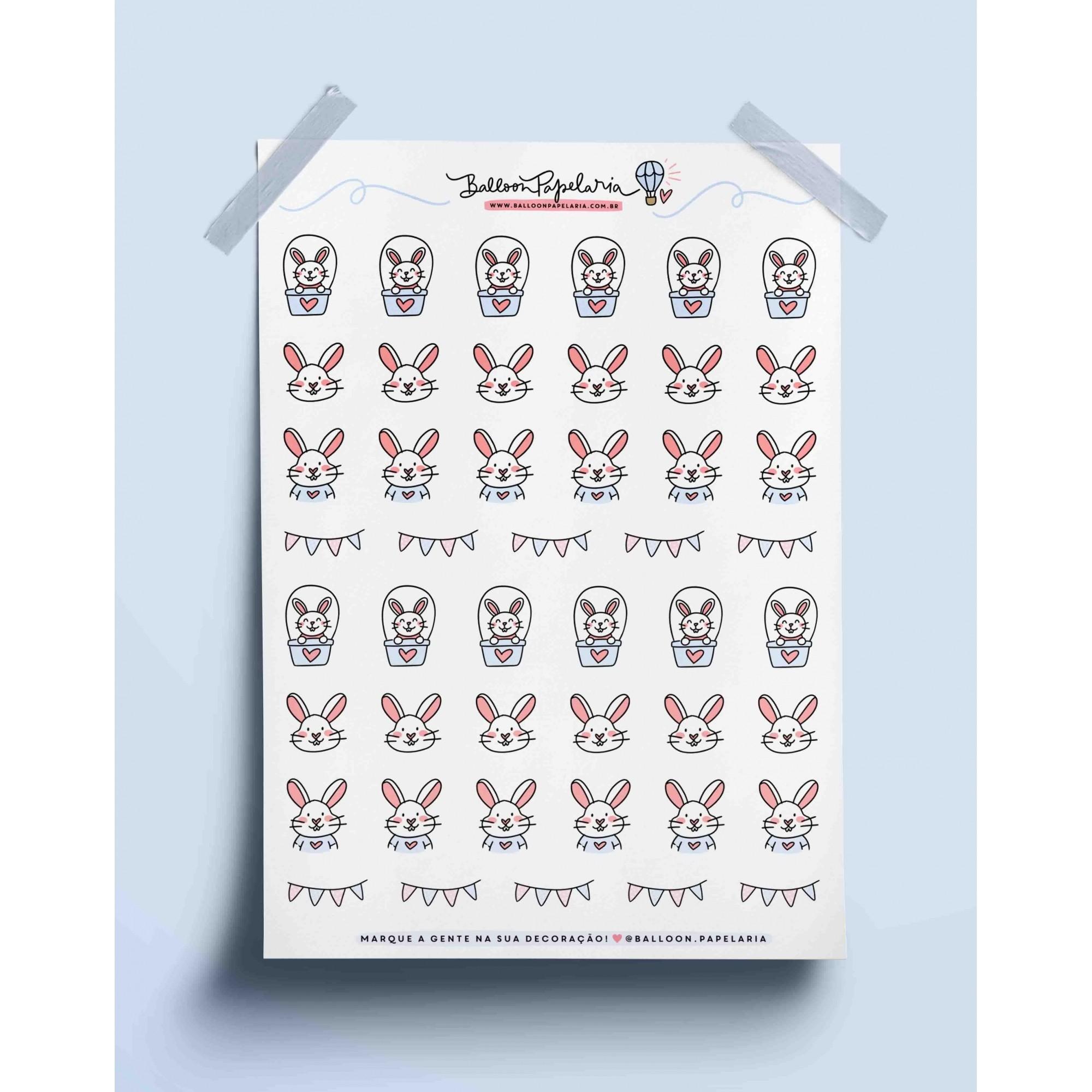 Adesivo coelhos fofos