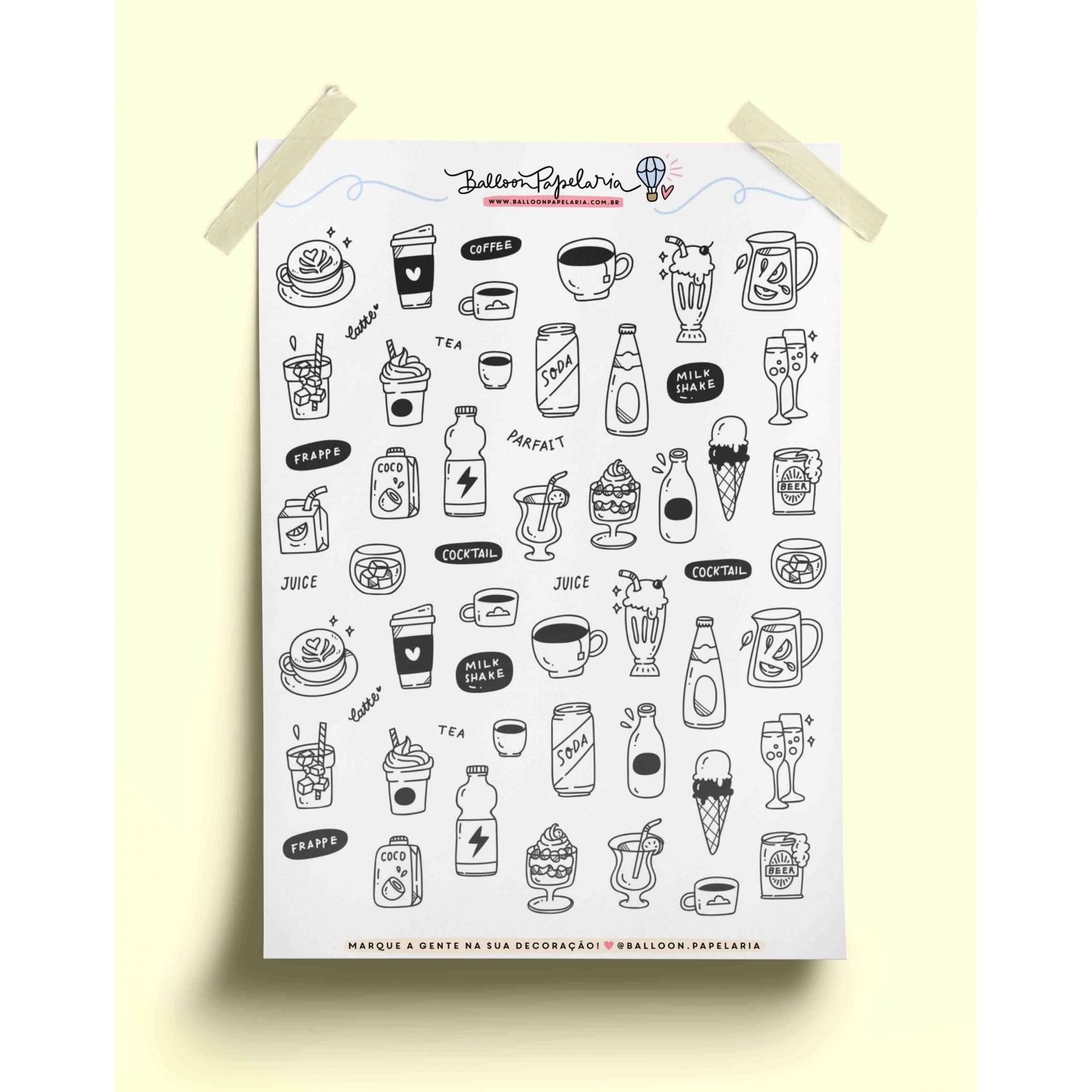 Adesivo doodles cafezinho