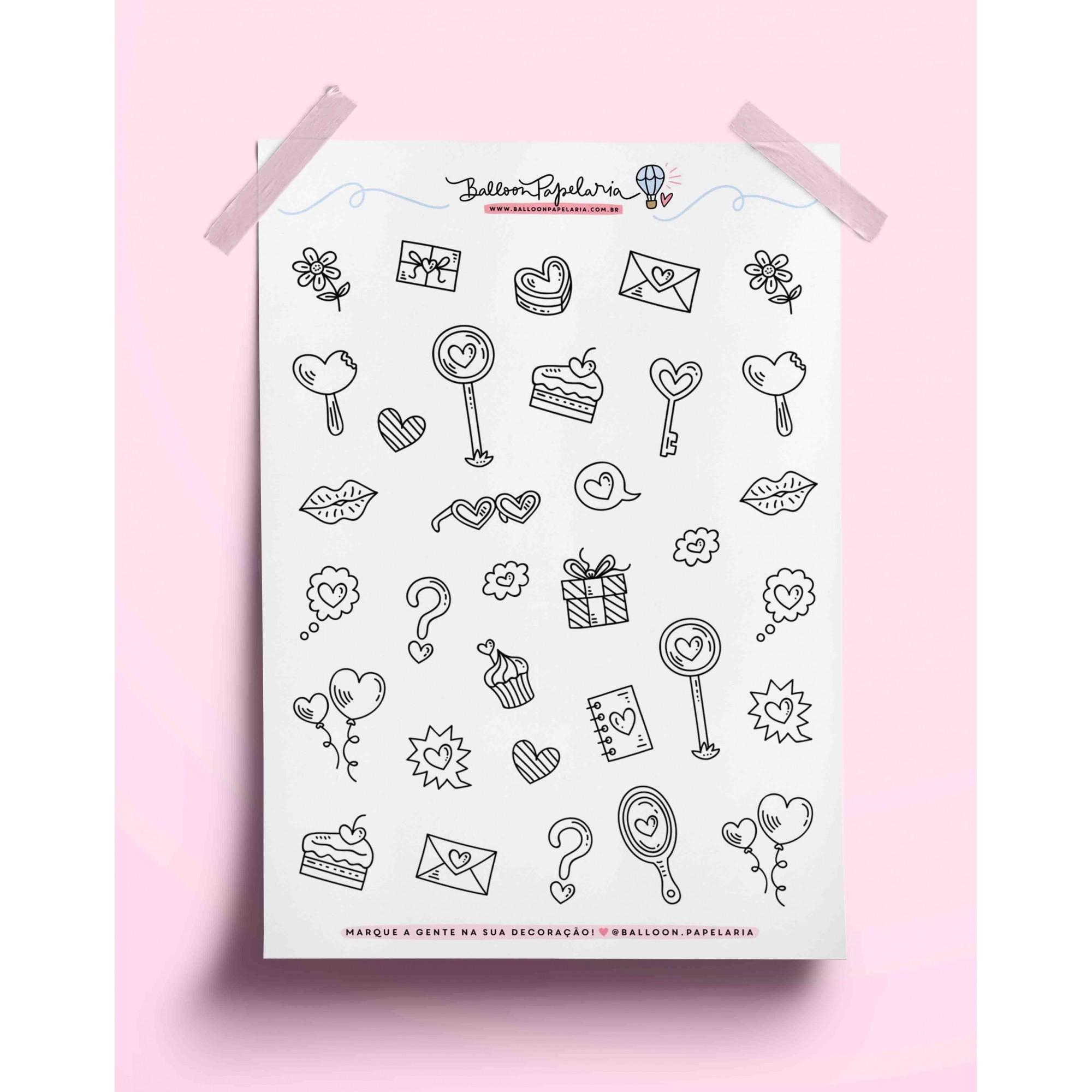 Adesivo doodles love 02