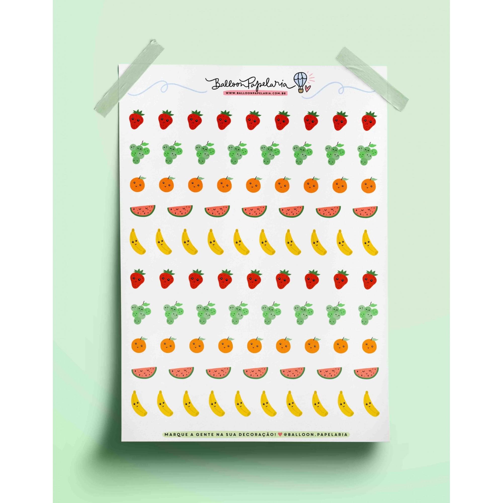 Adesivo frutinhas fofas