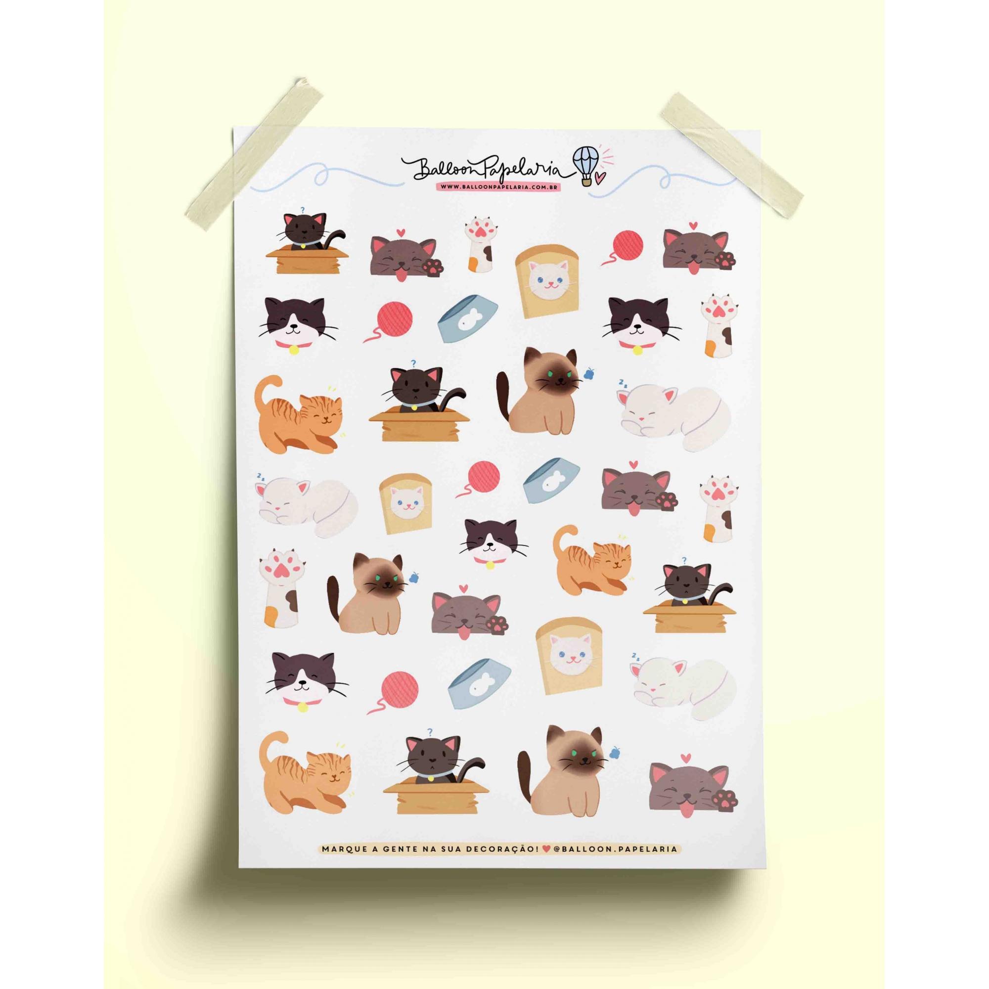 Adesivo gatinhos fofos
