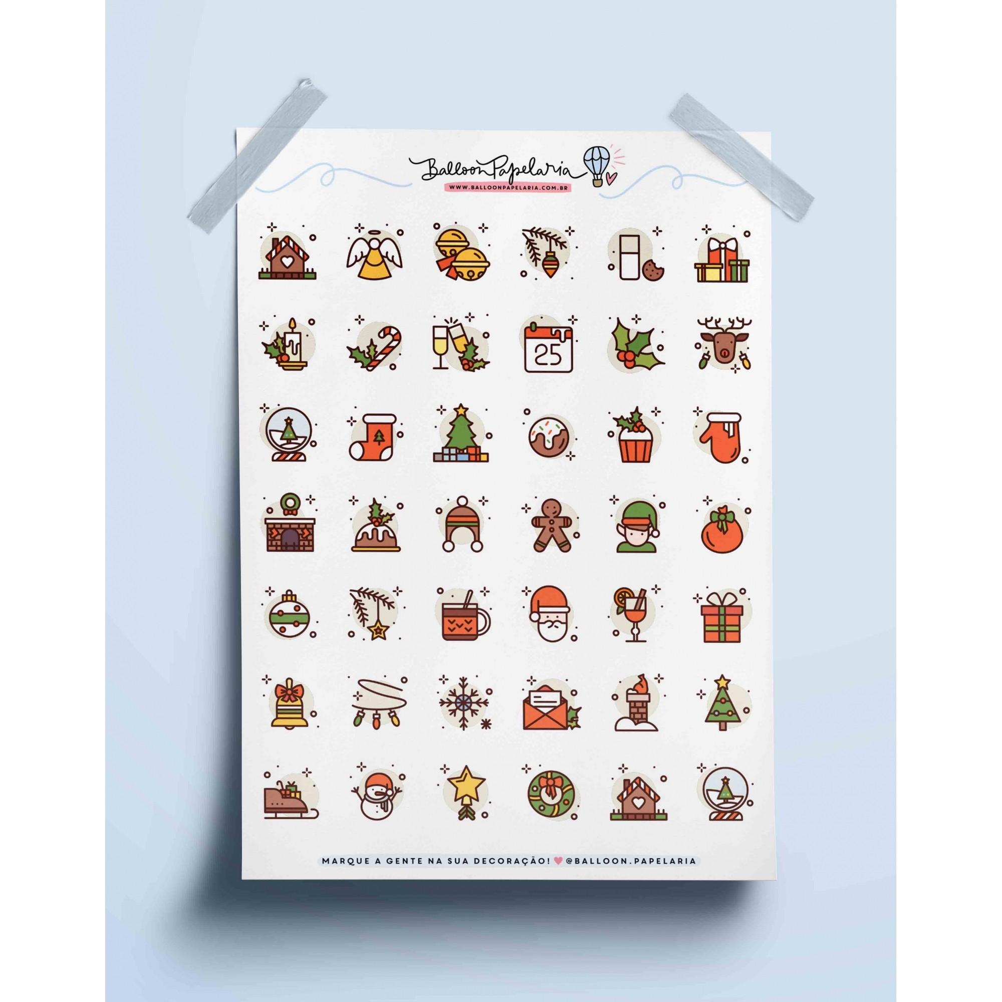 Adesivo ícones natalinos