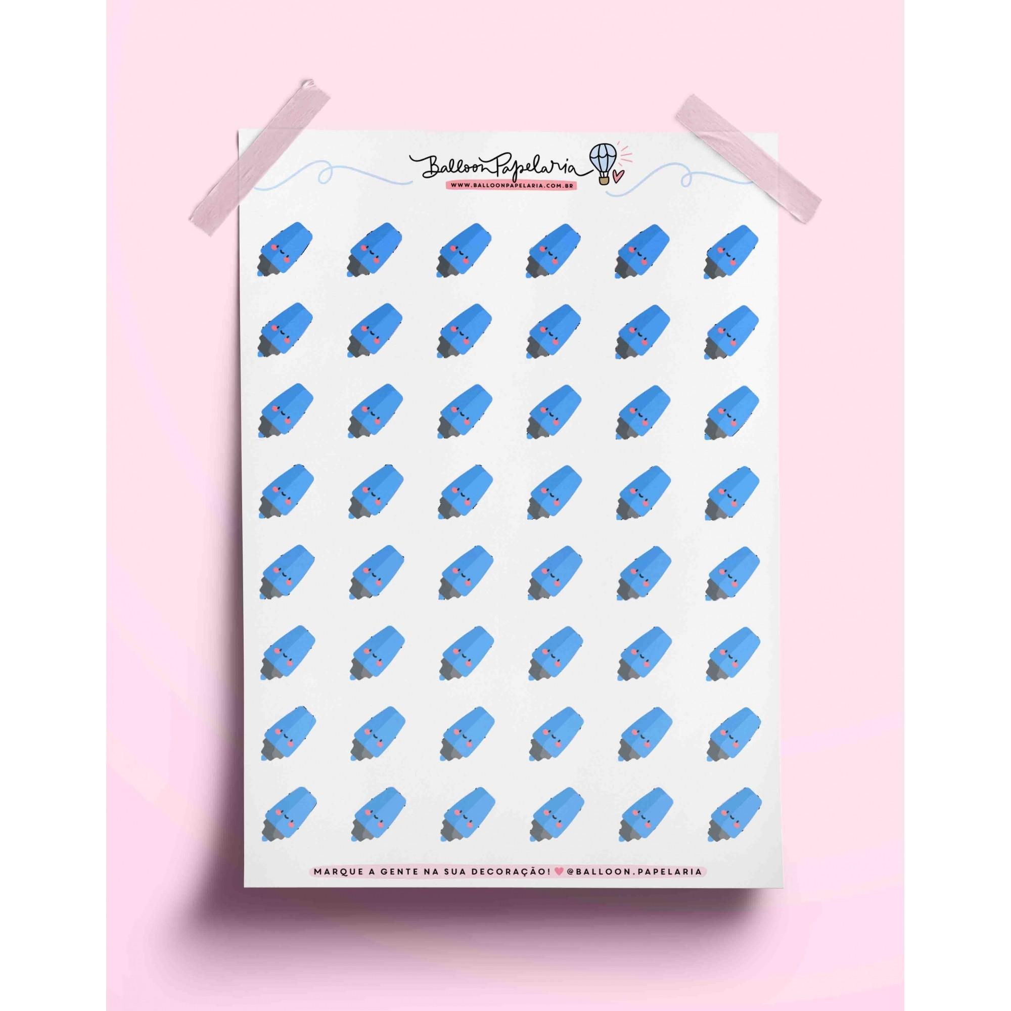Adesivo marca texto - azul