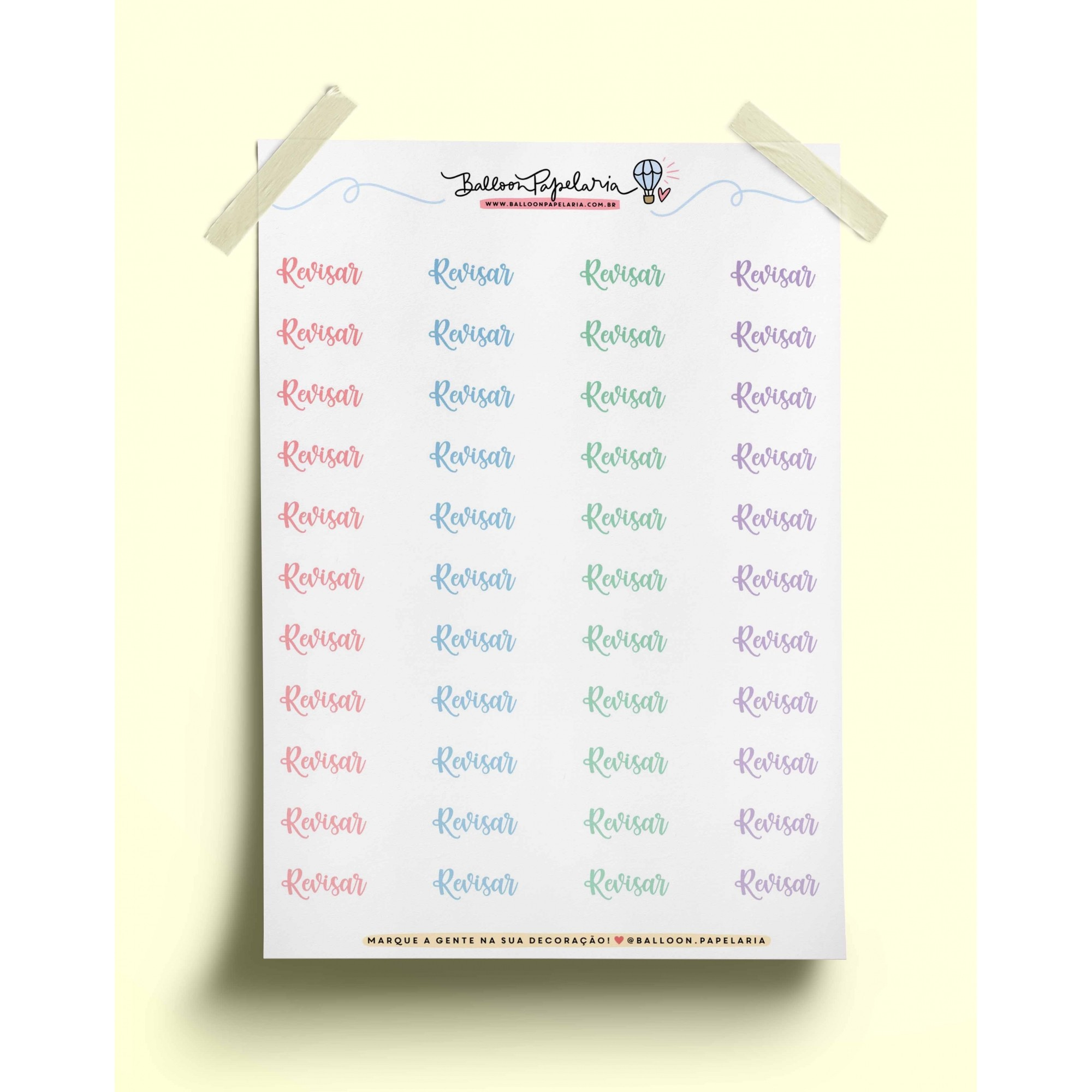 Adesivo palavras tons pastel - revisar